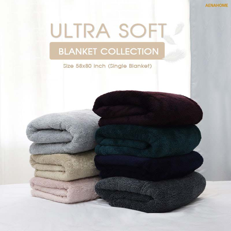 Aena ผ้าห่ม ULTRA SOFT สีเทาเข้ม