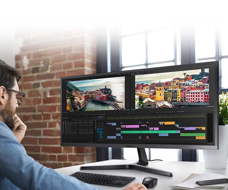Samsung จอคอมพิวเตอร์ 34.1 นิ้ว Ultra WQHD Monitor SJ550W (LS34J550WQEXXT)