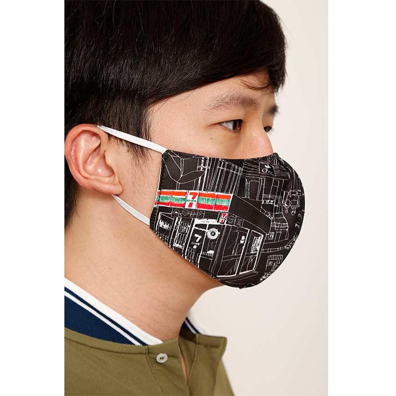 หน้ากากผ้าฝุ่น พร้อม Stopper ปรับระดับหูคล้อง ลายร้าน 7- Eleven (พื้นดำ / แพ็ก 2 ชิ้น)