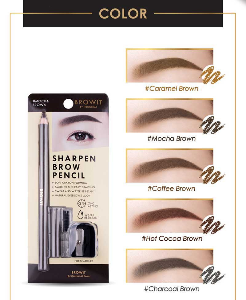 03 Browit ดินสอเขียนคิ้ว Sharpen Brow Pencil #Hot Cocoa Brown 1.14 กรัม