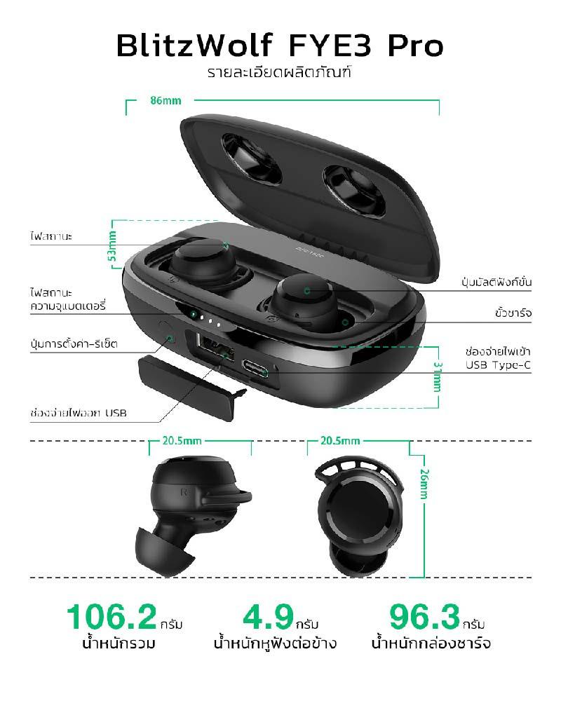 Blitzwolf หูฟังบลูทูธแบบ True Wireless รุ่น FYE-3 Pro