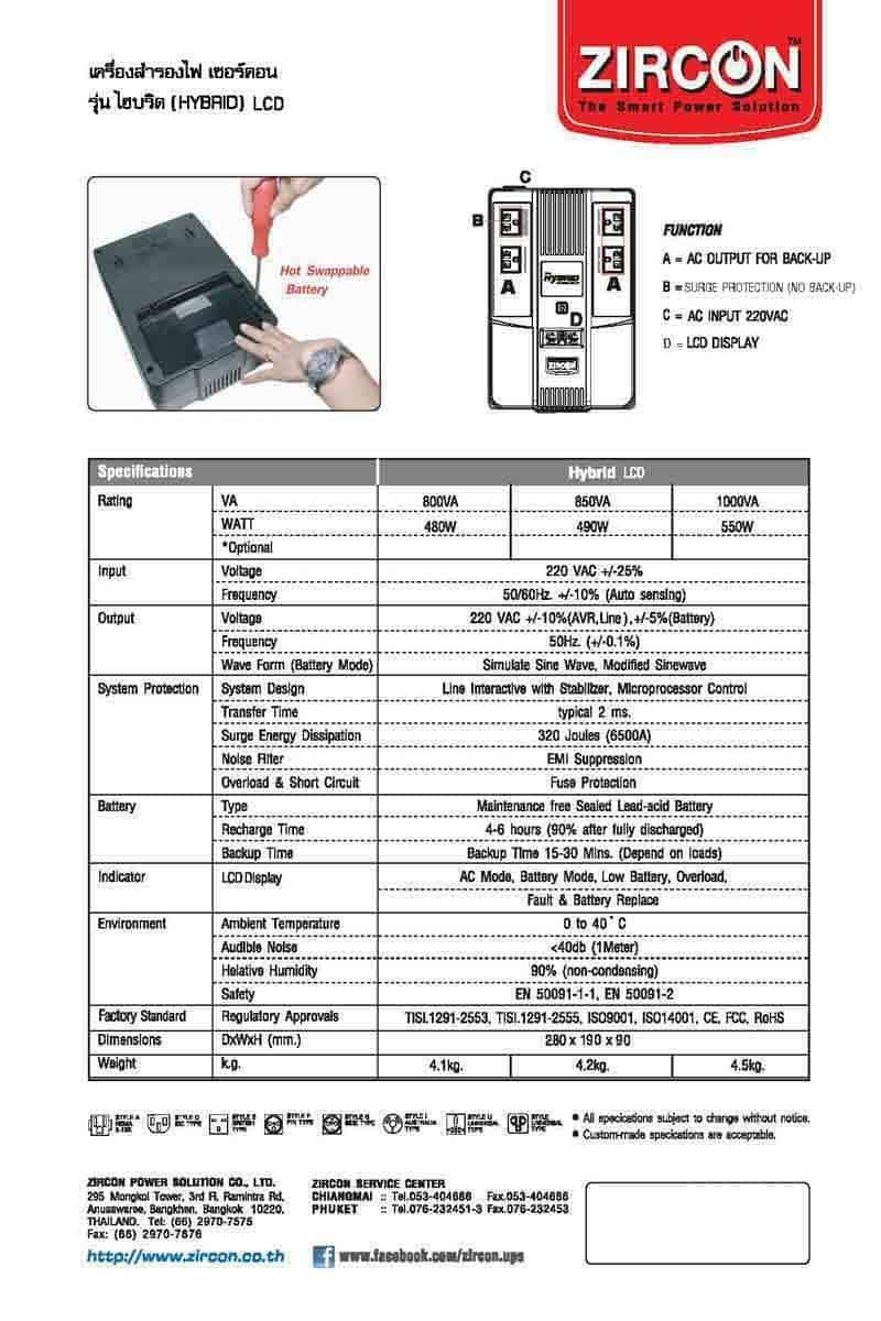 ZIRCON เครื่องสำรองไฟ Hybrid LCD 1000VA/550W