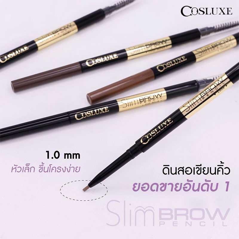 03 COSLUXE ดินสอเขียนคิ้ว Slimbrow Double #Deep brown (แพ็คคู่)