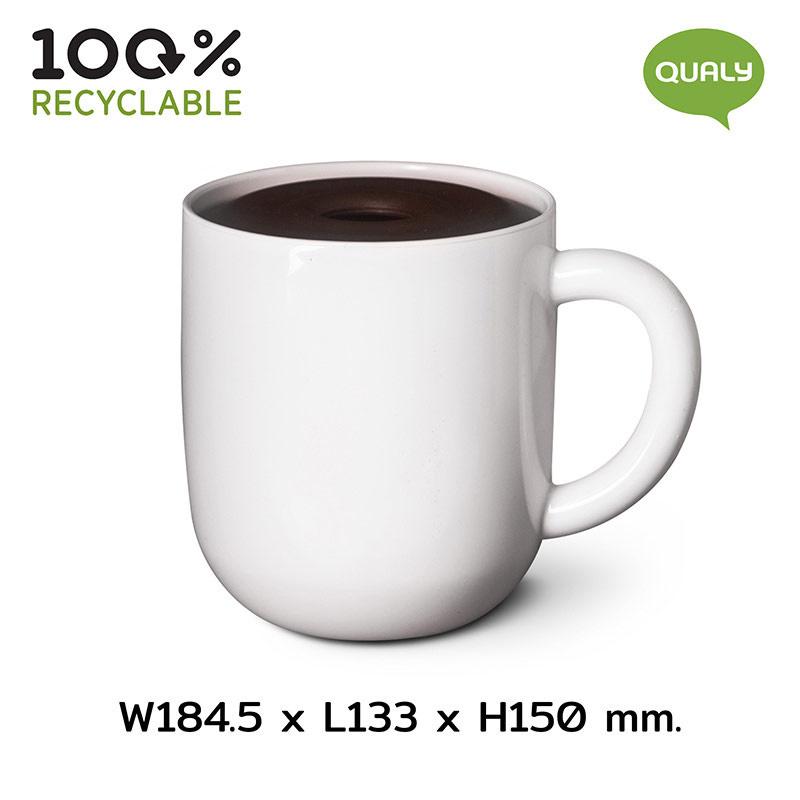 Qualy Maximug (Toilet Paper Holder) ที่ใส่กระดาษทิชชู กล่องใส่ทิชชู่รูปทรงถ้วยกาแฟ สีขาว