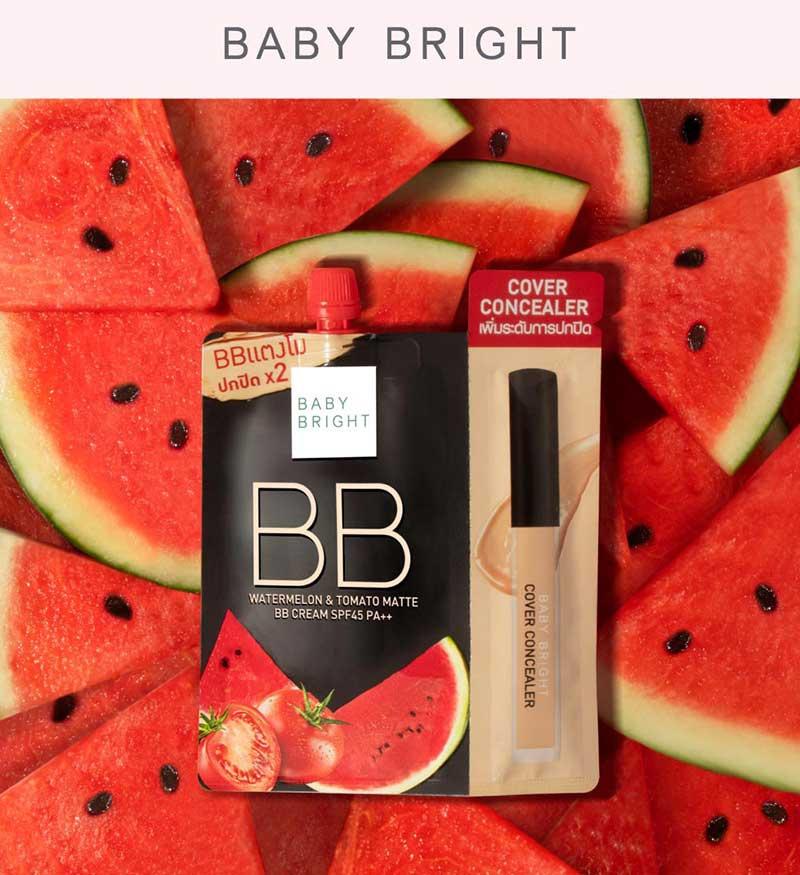 01 Baby Bright บีบีครีม Watermelon & Tomato Matte SPF45 PA++