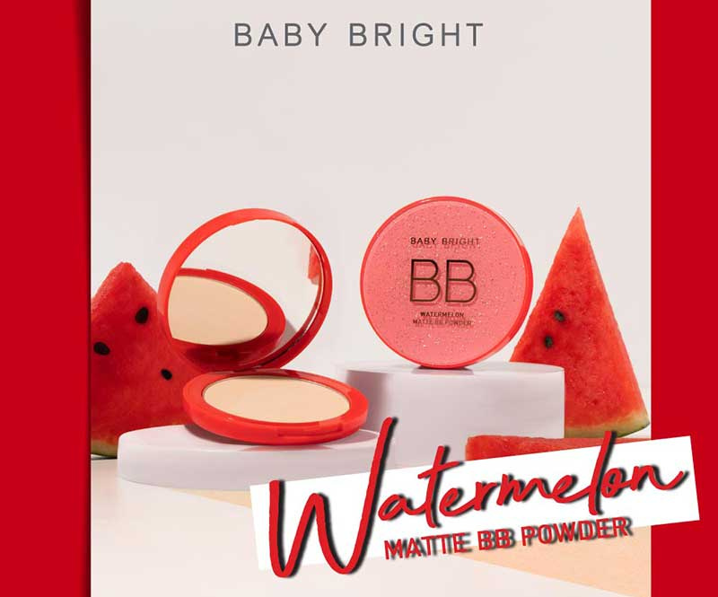 01 Baby Bright แป้งบีบีอัดแข็ง Watermelon Matte BB Powder 9 กรัม #21 Light Beige