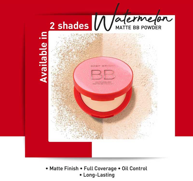 04 Baby Bright แป้งบีบีอัดแข็ง Watermelon Matte BB Powder 9 กรัม #21 Light Beige
