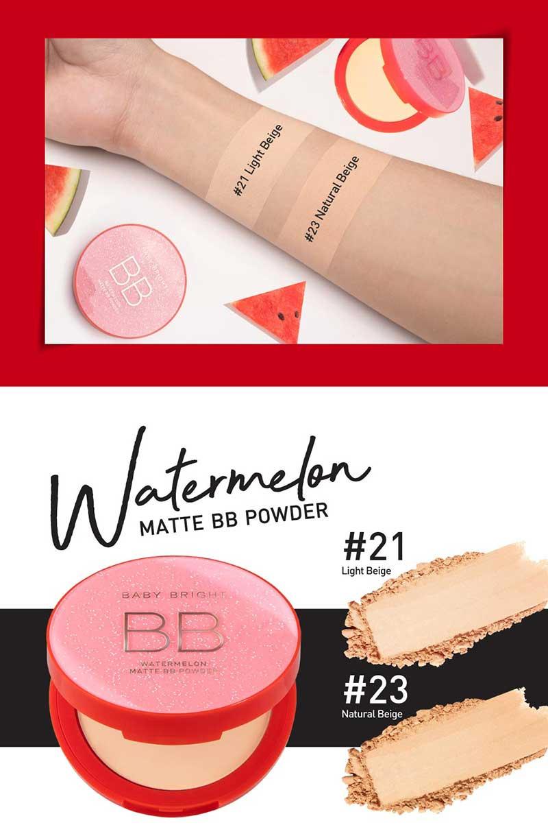 06 Baby Bright แป้งบีบีอัดแข็ง Watermelon Matte BB Powder 9 กรัม #21 Light Beige