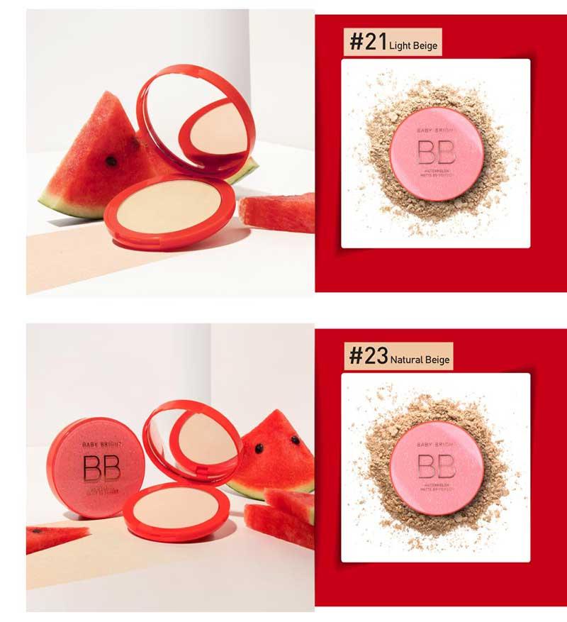 05 Baby Bright แป้งบีบีอัดแข็ง Watermelon Matte BB Powder 9 กรัม #23 Natural Beige
