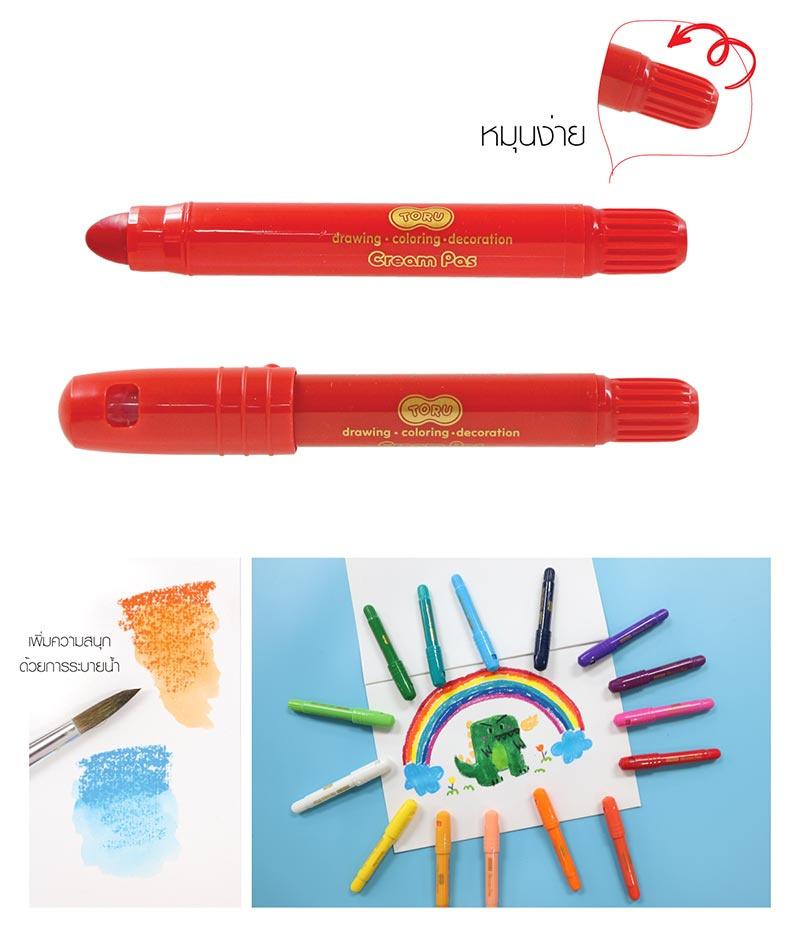 DONG-A TORU Cream Pas ปากกาครีมพาส 12 สี 02