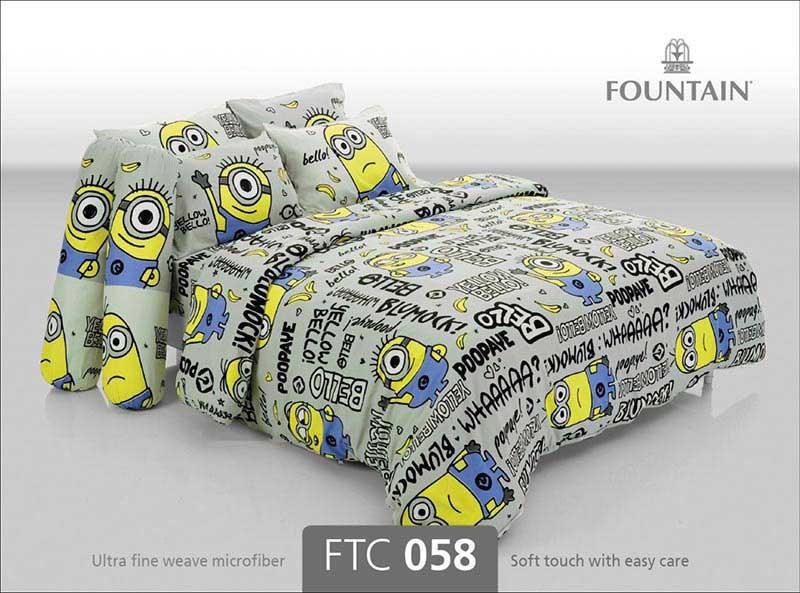 ผ้าปูที่นอน Fountain ขนาด 5 ฟุต ลายมินเนี่ยน รุ่น FTC058