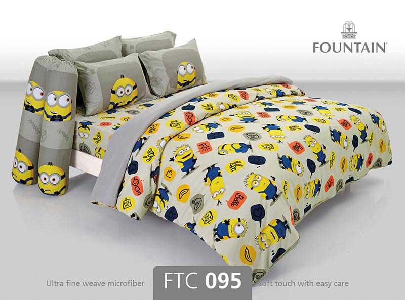 ผ้าปูที่นอน Fountain ขนาด 6 ฟุต ลายมินเนี่ยน รุ่น FTC095