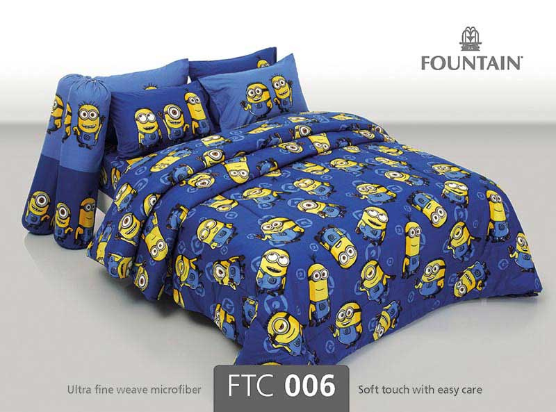 ชุดผ้าปูผ้านวม Fountain ขนาด 6 ฟุต ลายมินเนี่ยน รุ่น FTC006