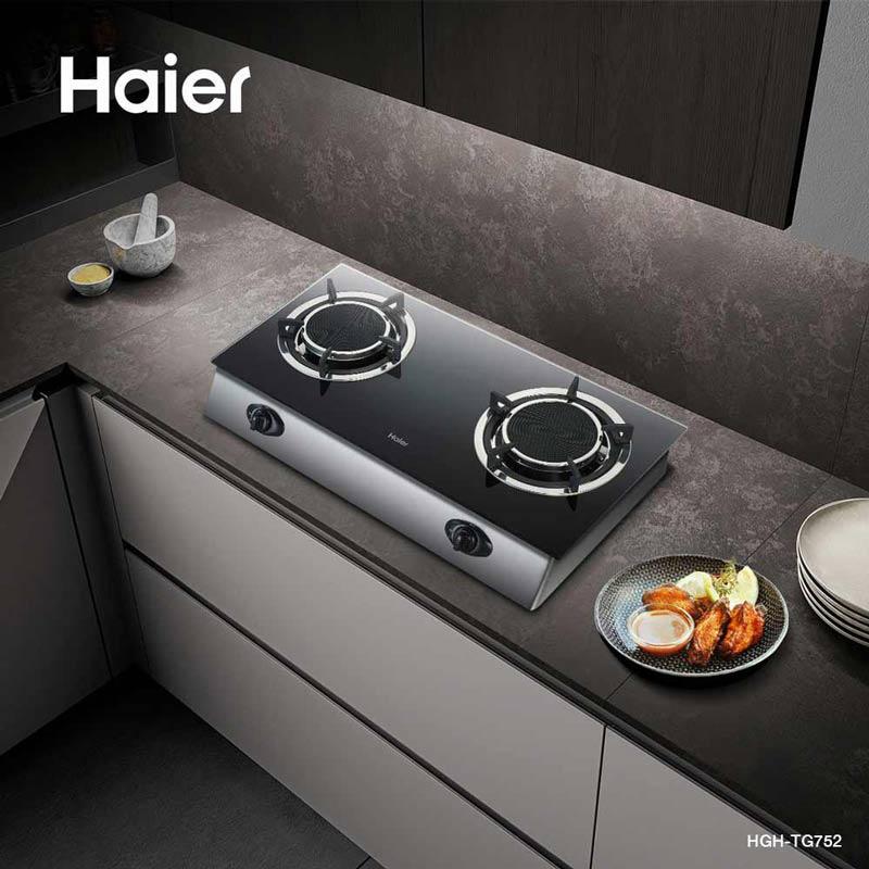 Haier เตาแก๊ส รุ่น HGH-TG752 ชนิดตั้งโต๊ะ หัวเตาอินฟาเรด จำนวน 2 หัว