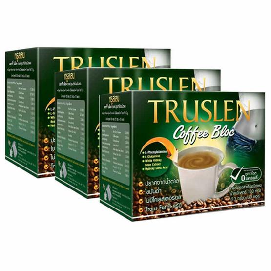 TRUSLEN COFFEE BLOC แพ็ค 3 กาแฟเพื่อสุขภาพ เพิ่มสารสกัดจากถั่วขาว ขนาด 390 กรัม รวมบรรจุ 30 ซอง