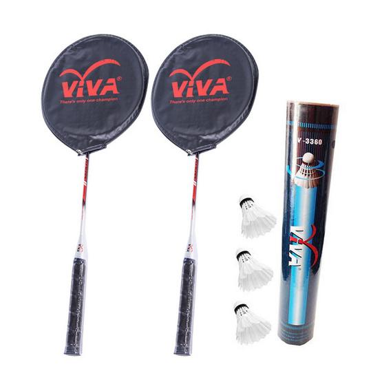 VIVA Set ไม้แบดมินตัน รุ่น CHAMPION 2019 1 คู่ และลูกแบดมินตัน 1 โหล