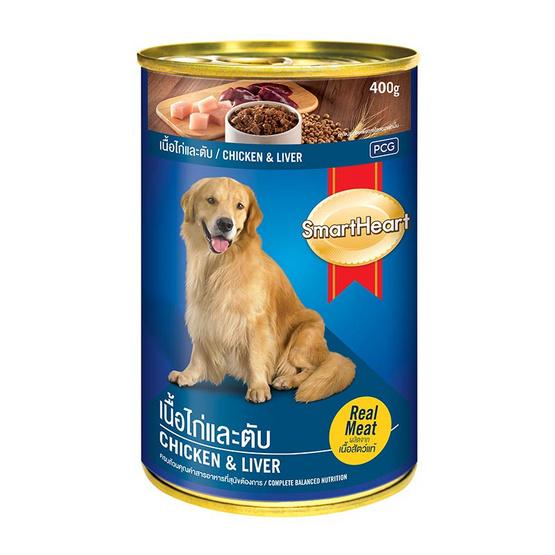 Smart Heart อาหารสุนัขกระป๋อง รสไก่และตับ ขนาด 400 ก. (4 กระป๋อง)