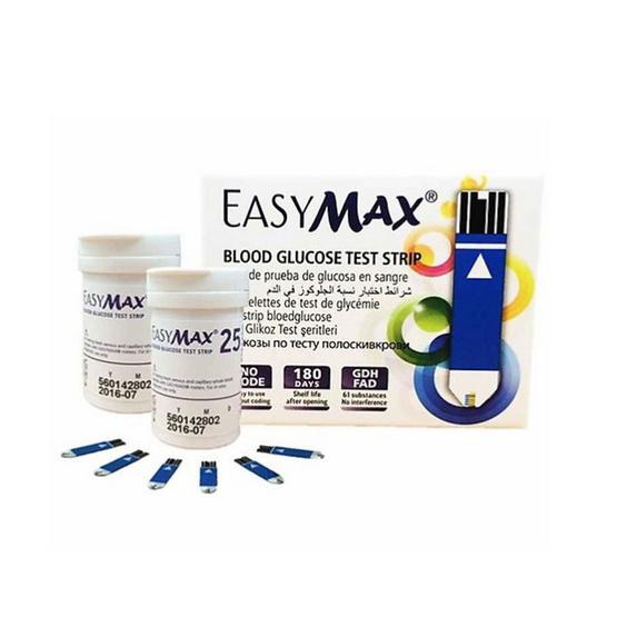 Easymax แผ่นตรวจน้ำตาลในเลือด จำนวน 50 ชิ้น (EasyMax Blood Glucose Test Strip)