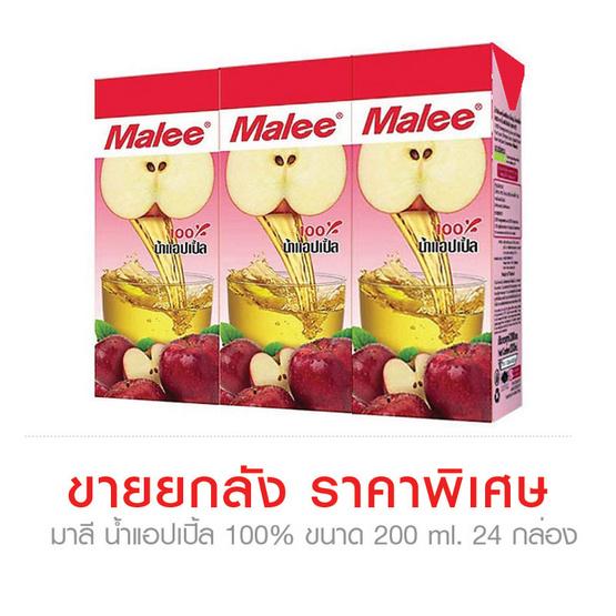 Malee มาลี น้ำแอปเปิ้ล 100%  ขนาด 200 ml. (ขายยกลัง) (24 ชิ้น)