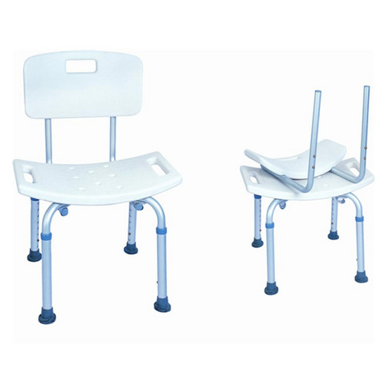 a bloom เก้าอี้อาบน้ำอลูมิเนียม แบบมีพนักพิง สีขาว (Aluminum Shower Chair-White)