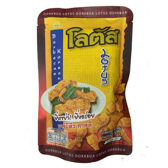 Lotus โลตัส ขนมน่องไก่อบกรอบ รสบาร์บีคิวเกาหลี ผสมสาหร่าย ขนาด 50 g. (12 ชิ้น)