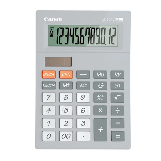 Canon Mini Desktop Calculator รุ่น AS-120V Grey