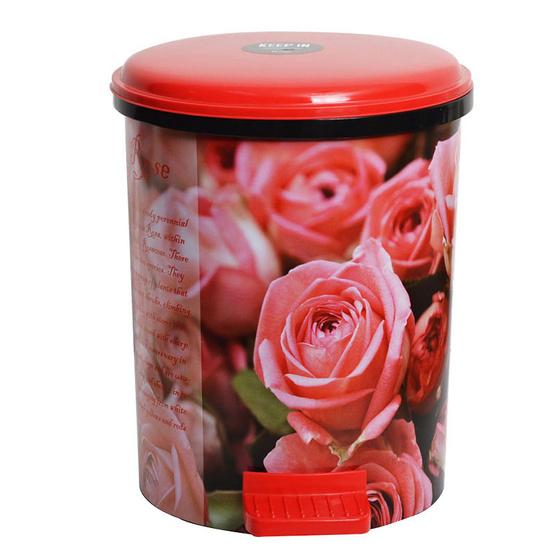 KEEP IN ถังผงอนามัย IML.10 ลิตร  ลายดอกกุหลาบ