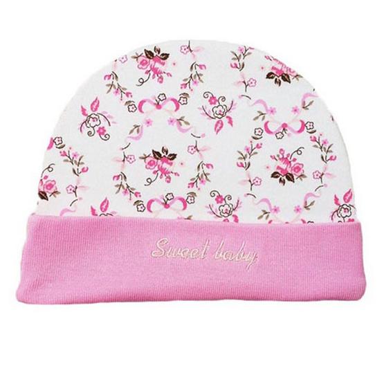 B&B Kids เซ็ต 3 ชิ้น หมวก-ถุงมือ-ถุงเท้า ลายดอกไม้ สีชมพู