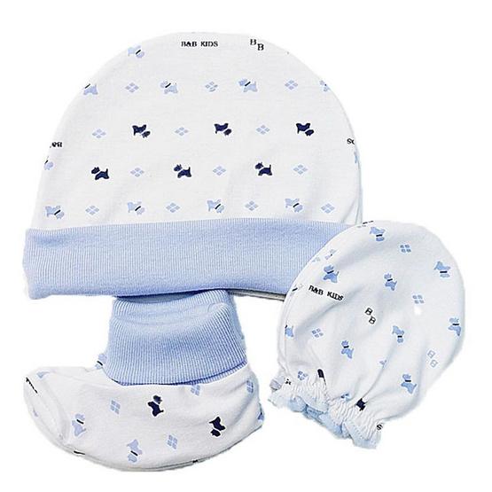B&B Kids เซ็ต 3 ชิ้น หมวก-ถุงมือ-ถุงเท้า ลายสุนัข สีฟ้า