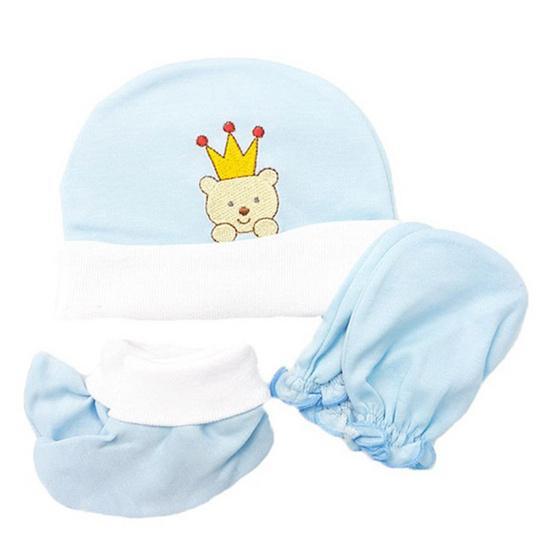 B&B Kids เซ็ต 3 ชิ้น หมวก-ถุงมือ-ถุงเท้า ลายหมีปัก สีฟ้า