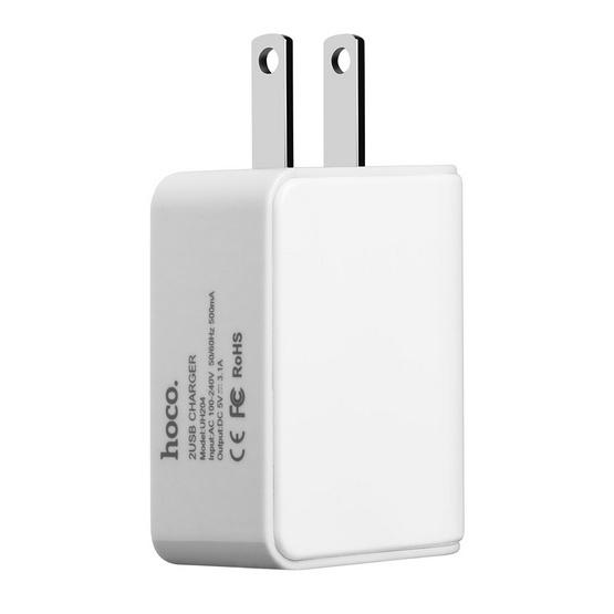 hoco Adapter แบบ2ช่อง ทรงเหลี่ยม max3.1A White