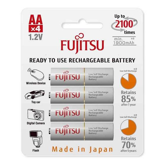 Fujitsu ถ่านชาร์จ HR-3UTCEX(4B) ขนาด AA Pack 4 ก้อน White Standard Capacity min 1900mAh.