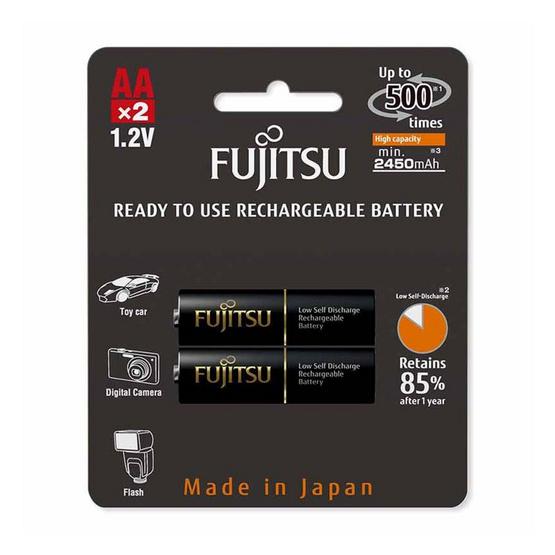Fujitsu ถ่านชาร์จ HR-3UTHCEX(2B) ขนาด AA Pack 2 ก้อน Black Higt Capacity min 2450mAh.