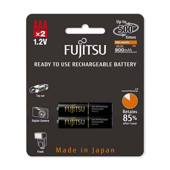 Fujitsu ถ่านชาร์จ HR-4UTHCEX(2B) ขนาด AAA Pack 2 ก้อน Black Higt Capacity min 900mAh.