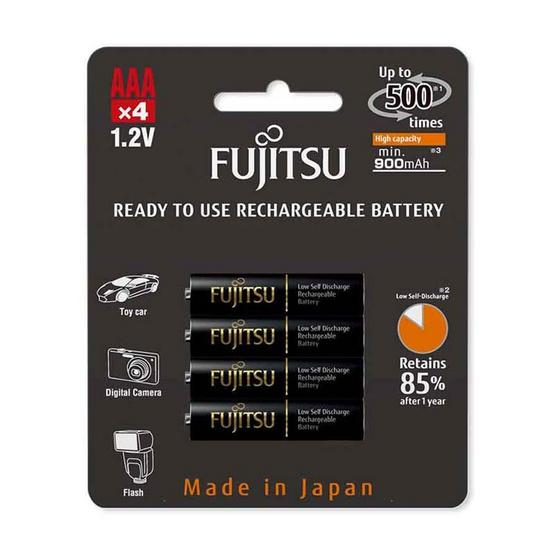 Fujitsu ถ่านชาร์จ HR-4UTHCEX(4B) ขนาด AAA Pack 4 ก้อน Black Higt Capacity min 900mAh.
