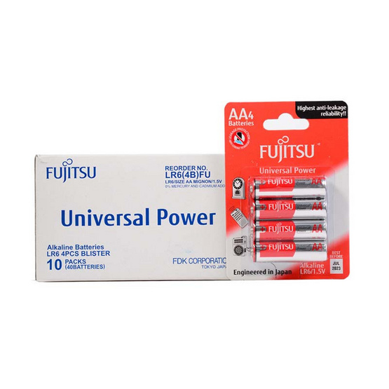 Fujitsu ถ่านอัลคาไลน์ Universal รุ่น LR6(4B)FU Size AA 1.5V Box 4x10