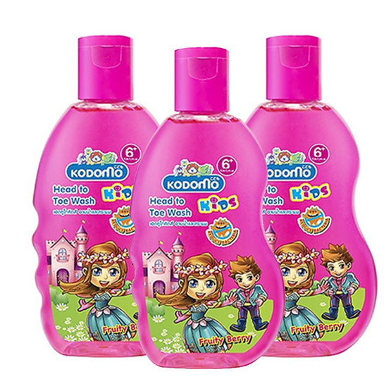 Kodomo โคโดโมเฮดทูโทคิดส์ อาบน้ำและสระผม (Fruity Berry) Kids Head To Toe Wash 200 ml แพ็ค 3