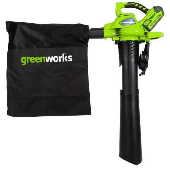 Greenworks เครื่องเป่าและดูดใบไม้ 40 V พร้อมแบตเตอร์รี่และแท่นชาร์ต