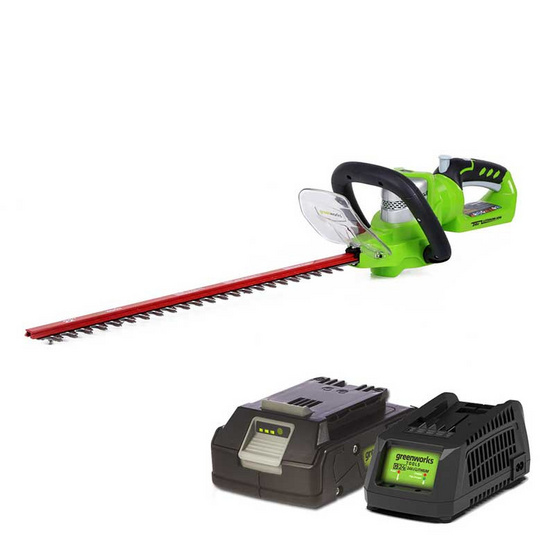 Greenworks เครื่องเล็มพุ่มไม้ 24 V พร้อมแบตเตอร์รี่และแท่นชาร์ต