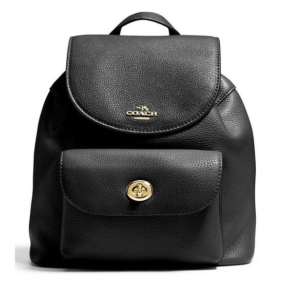 COACH กระเป๋า F37621 MINI BILLIE BACKPACK IN PEBBLE LEATHER (IMBLK)