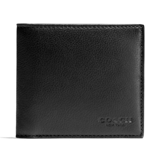 COACH กระเป๋าสตางค์  F75084 DOUBLE BILLFOLD WALLET IN CALF LEATHER (BLK)