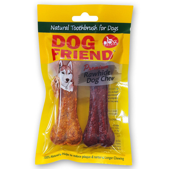 """DOG FRIEND ขนมขบเคี้ยวสุนัข มันชี่โบน 4.5"""" รสเนื้อ/รสไก่ 2 ชิ้น (6 แพ็ค)"""