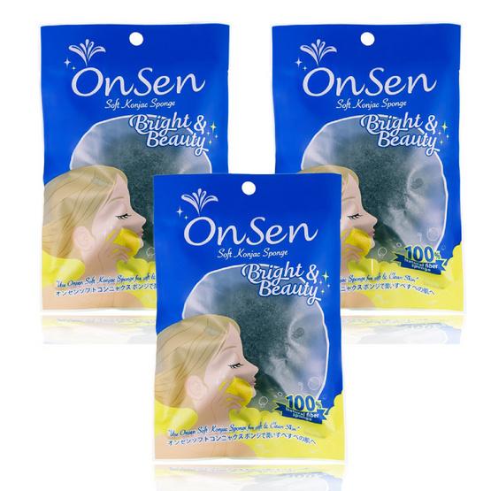 Onsen  ฟองน้ำใยบุก แบบกลม 40 กรัม สีดำ (แพ็ค 3 ชิ้น)