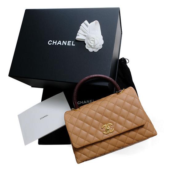 "CHANEL กระเป๋า COCO 10.5"" CARAMEL CAVIAR/BURGUNDY LIZARD GHW"