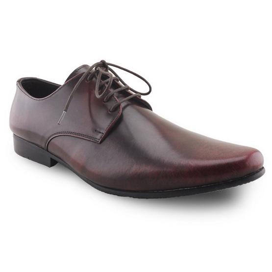 Brown Stone รองเท้าหนังแท้ รุ่น Derby European Brush Off Burgundy