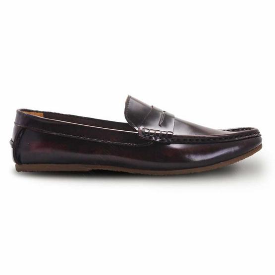Brown Stone รองเท้าหนังแท้ รุ่น Penny Leather Loafer European Brush Off Burgundy