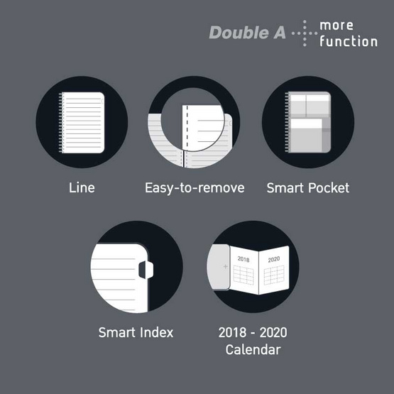 Double A Plus สมุดสันห่วงปกแข็ง A4 80 แกรม 80 แผ่น
