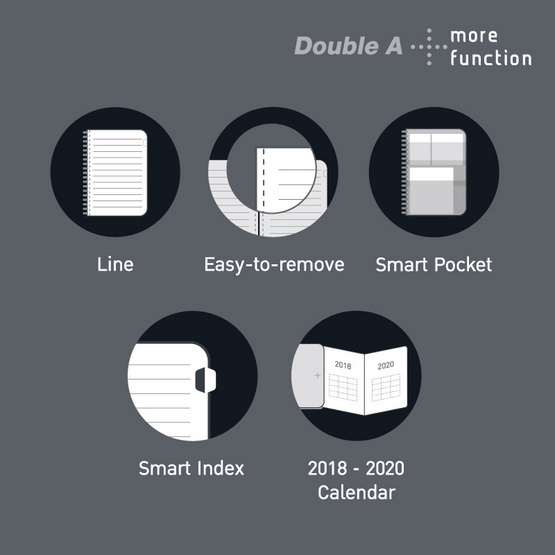Double A Plus สมุดสันห่วงปกแข็ง A5 80 แกรม 100แผ่น