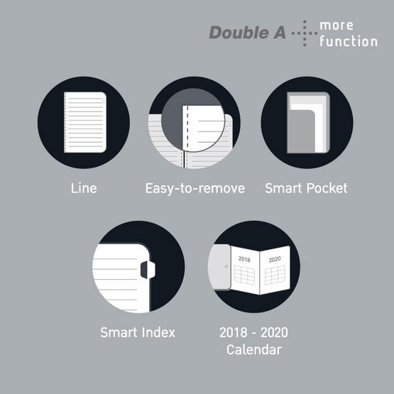 Double A Plus สมุดเย็บกี่ 105x190 มม. 80 แกรม 80 แผ่น