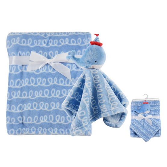 Luvena Fortuna ผ้าห่ม + ผ้ากอดหัวตุ๊กตาสัตว์ ลาย ปลาวาฬสีฟ้า